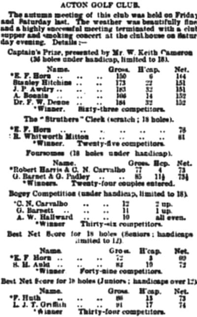 Acton Golf Club, London. Results from the Autumn Meeting 1906.