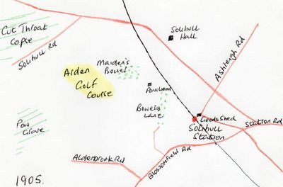 Location of the Arden Golf Club course.