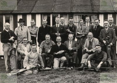 Ardsley Golf Club, Barnsley. Photograph of members with the clubhouse in the background.