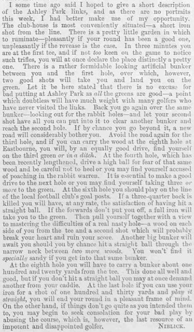Ashley Park Golf Club, Walton-on-Tames, Surrey. Description of the course in February 1893.
