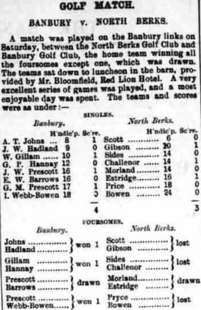Bannbury and District Golf Club. Result of a match against North Berks Golf Club May 1908.