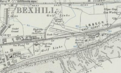 Bexhill-on-Sea Golf Club, Galley Hill Course. The Golf Links and Clubhouse on the 1900s Ordnance Survey Map.
