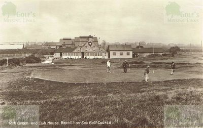 Bexhill-on-Sea Golf Club. The seventeenth green and clubhouse.