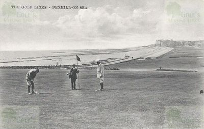 Bexhill-on-Sea Golf Club. Early postcard of the golf links.