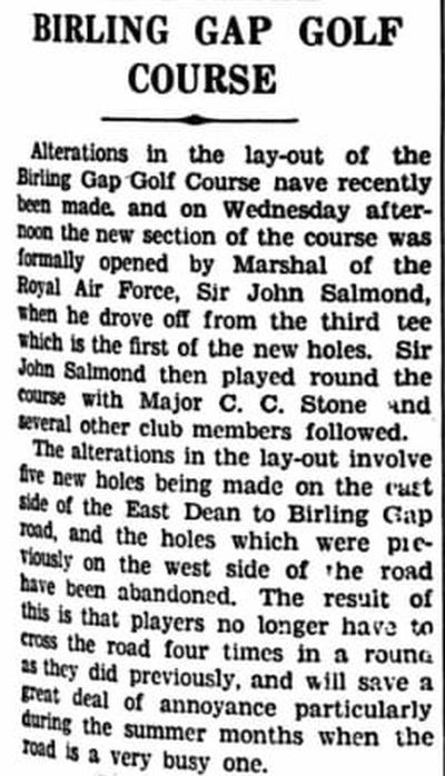 Birling Manor Golf Club, Birling Gap. Alterations to the course in 1939