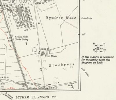 Blackpool Golf Club, Squire's Gate. Location of the course 1933 O.s map.