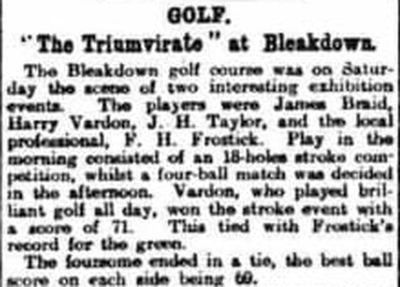 Bleakdown Golf Club, Byfleet, Surrey. The Triumvirate at Bleakdown in July 1910.