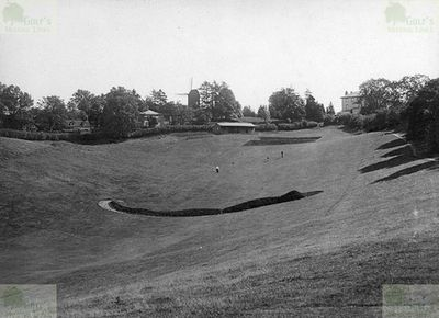 Bletchingley Golf Club, Surrey. Picture showing the course contours plus a windmill.