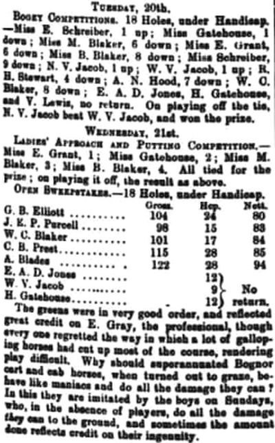 Bognor Regis Golf Club, Sussex. Competition results from March 1897.