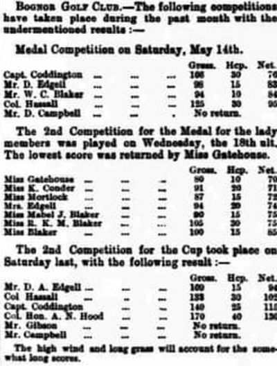 Bognor Regis Golf Club, Sussex. Competition results from May 1892.