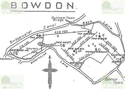 Bowdon Golf Club, Dunham Massey, Altrincham. Layout of the nine-hole golf course at Bowdon.