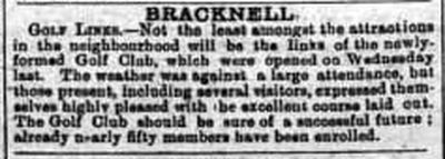 Bracknell Golf Club, Berkshire. Newspaper report from January 1901.