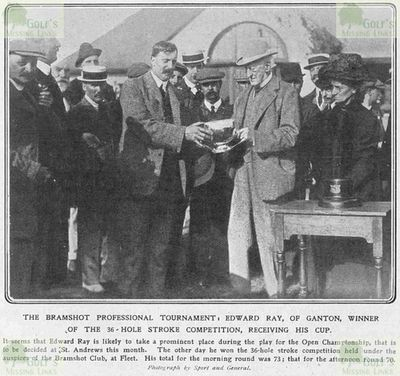 Bramshot Golf Club, Hampshire. Ted ray being presented with the Bramshot Cup in 1910.