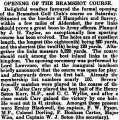 Bramshot Golf Club, Hampshire. Report on the opening of the golf course in June 1905.