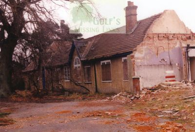 Bramshot Golf Club, Hants. Clubhouse demolition in the 1980s.