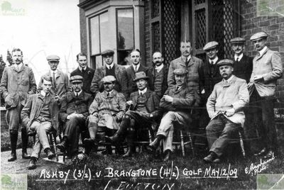Branston (Branstone) Golf Club, Staffordshire. Team picture of Branstone and Ashby golfers.