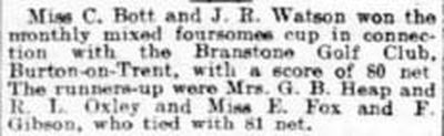Branstone Golf Club, Burton-on-Trent, Staffs. Result of a mixed foursome in July 1915.