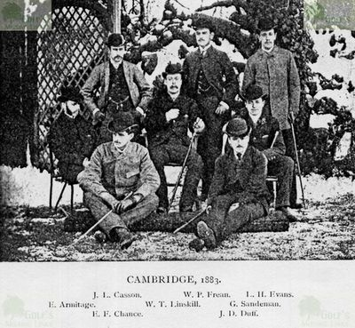 Cambridge University Golf Club. Cambridge golfers in 1883.