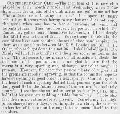 Canterbury Golf Club, Kent. Club report and competition result December 1893.