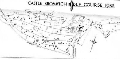 Castle Bromwich Golf Club, Birmingham. Course plan from 1935.