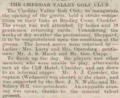 Cheddar Valley Golf Club, Somersat. Opening of the golf course in June 1919.