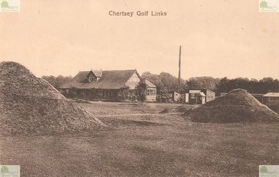 Chertsey Golf Club, Surrey. Postcard showing the clubhouse and golf course.