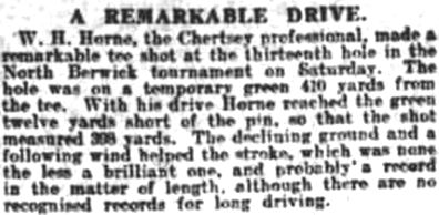Chertsey Golf Club, Surrey. W H Horne and his remarkable drive at North Berwick.