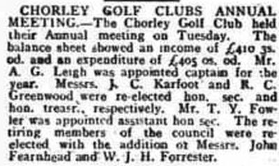 Chorley Golf Club, Astley Park. Report on the annual meeting March 1915.