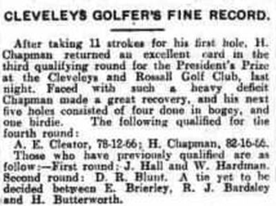 Cleveleys & Rossall Golf Club, Fleetwood, Lancashire. A Golfer's Fine Record June 1931.