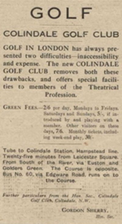 Colindale Golf Club, Hendon. Advert from 1926 for Colindale Golf Club.