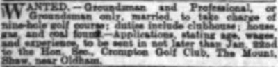 Crompton Golf Club, Higher Park Course. Advert for professional/green-keeper in January 1912.