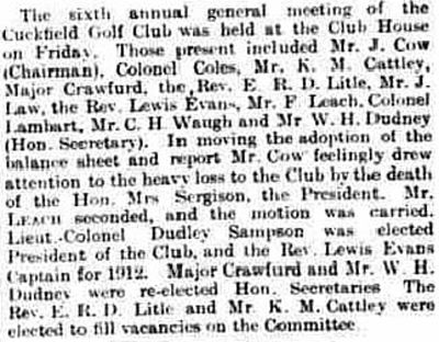 Cuckfield Golf Club, Haywards Heath. Report on the annual meeting held in February 1912.