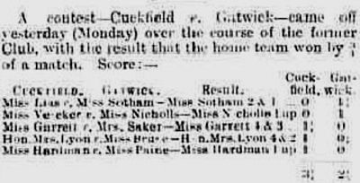 Cuckfield Golf Club, Haywards Heath. Result of a ladies' match against Gatwick GC (now defunct) in April 1913.