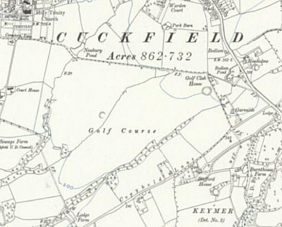 Cuckfield Golf Club, Haywards Heath. Ordnance Survey Map from 1912 showing the course and clubhouse.