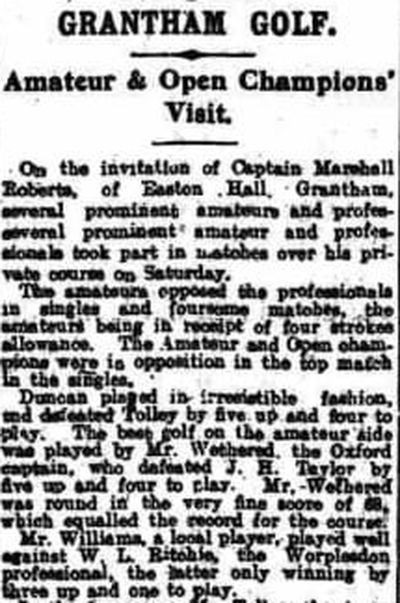 Easton Hall Golf Course, Grantham. Article from The Nottingham Journal July 1920.