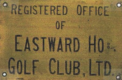 Eastward Ho! Golf Club, Felixstowe, Suffolk. Club nameplate.
