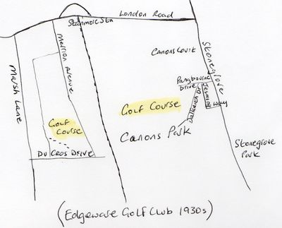 Edgeware Golf Club, London. Location of the golf course in the 1930s.