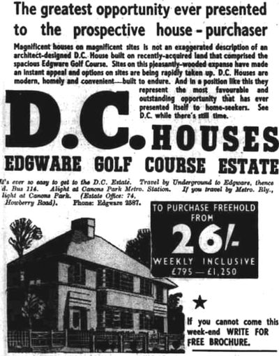 Edgware Golf Club, London. The housing developers have moved in by 1938.