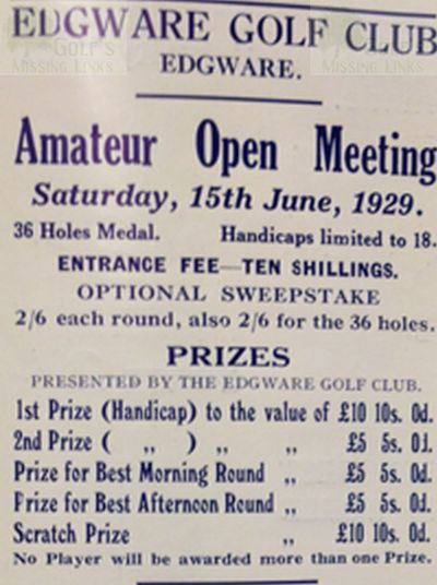 Edgware Golf Club, London. The Amateur Open Meeting 1929.