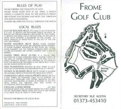 Frome Golf Club, Somerset. Frome Golf Club scorecard.
