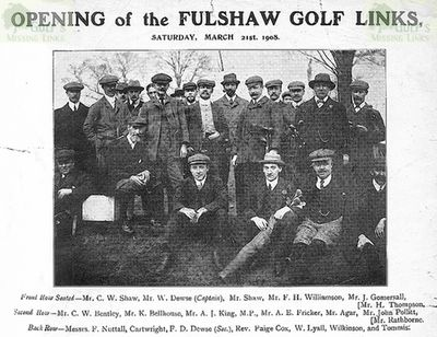 Fulshaw Golf Club, Wilmslow. Group of men at the opening of the course.