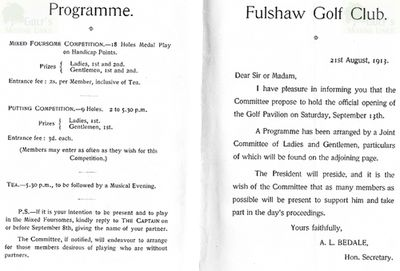 Fulshaw Golf Club, Wilmslow. Programme of events for clubhouse.