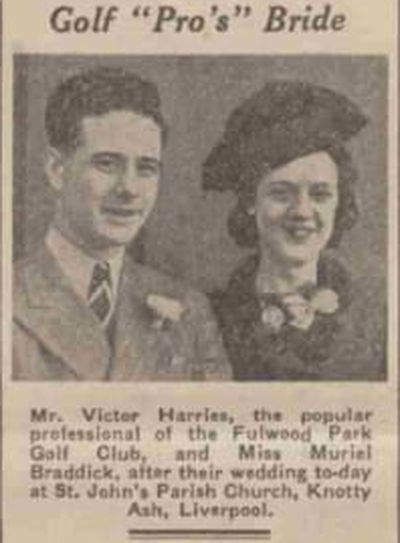 Fulwood Park Golf Club, St Michael's, Liverpool. Victor Harries the Fulwood Park professional marries in 1940.