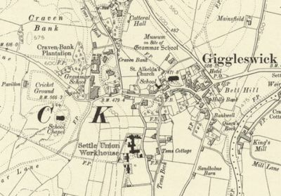 Giggleswick School Golf Club, Settle. Ordnance survey Map from 1910 showing the area around the Chapel.