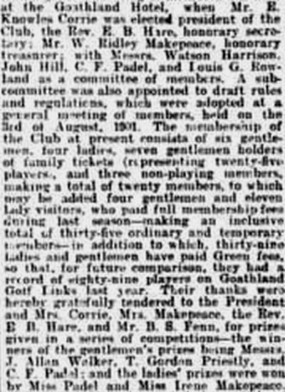 Goathland Golf Club, North Yorkshire. Report on the annual meeting in May 1902.