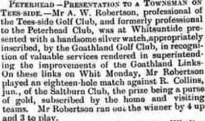 Goathland Golf Club, North Yorkshire. Presentation to the Tees-side professional A W Robertson in June 1904.