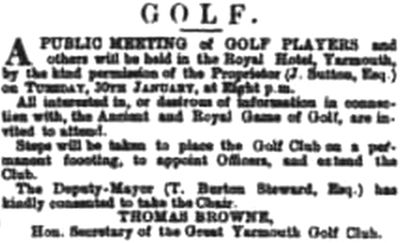 Great Yarmouth Golf Club, Norfolk. A Public Meeting held in January 1883.