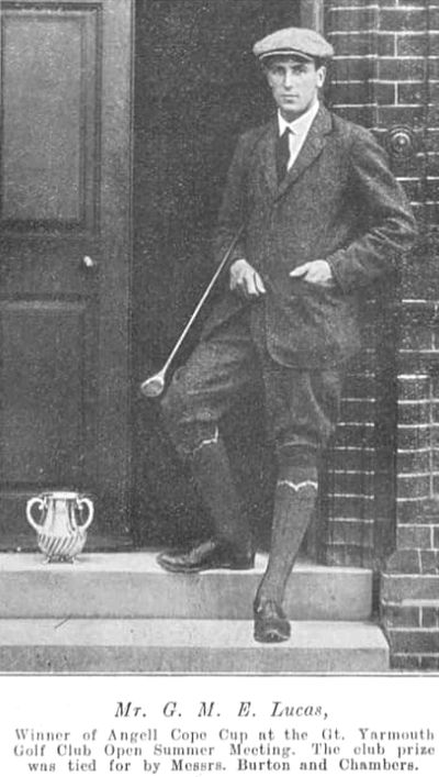 Great Yarmouth Golf Club, Norfolk. G M E Lucas winner of the Angell Cope Cup in 1910.
