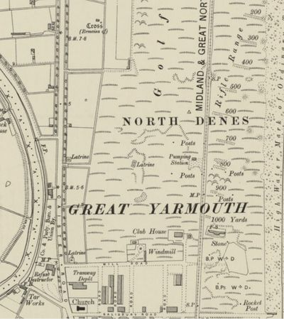 Great Yarmouth Golf Club, Norfolk. The former clubhouse and course on the 1907 O.S. map.