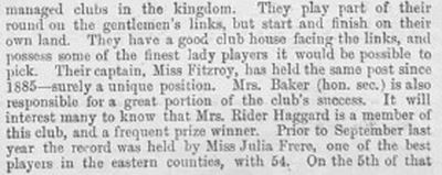 Great Yarmouth Golf Club. Article from The Illustrated and Dramatic News 1894.